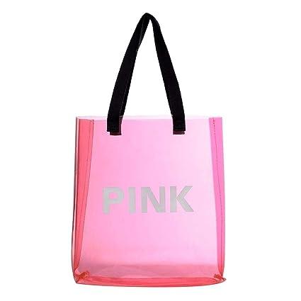 Caoly Bolsas de Viaje de PVC Transparentes, Bolsos de Viaje de Playa para Mujeres (Rosa)