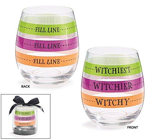 "Burton and Burton 9731121 Fill LINE WINE GLASS HALLOWEEN, 4 1/2""H, Multicolor"