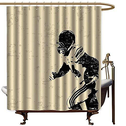 Shower Curtains Train Sports Decor,Rugby Player in Action Running Success in Arena Playground USA Sport Best Team Picture,Beige Black,W60 x L72,Shower Curtain for Men