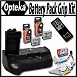 Opteka Battery Pack Grip / Vertical Shutter Release for Canon EOS Rebel T2i T3i T4i T5i 550D 600D 650D 700D Kiss X4 X5 X6 X6i X7i DSLR Digital Camera with 2 Extra LP-E8 Extended Life High Capacity Batteries, Wireless Infrared Remote and Lens Cleaning Kit