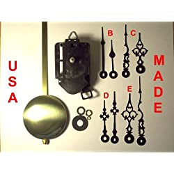 Quartz Pendulum Clock Movement Kit with 1 Set of Hands Out of 4 Types to Choose From, for Dials up to 1/2 Thick