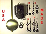 Quartz Pendulum Clock Movement Kit with 1 Set of Hands Out of 4 Types to Choose From, for Dials up to 1/2'' Thick