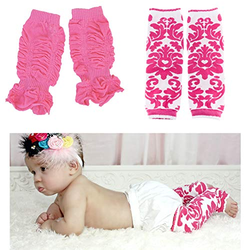 Huggalugs 2 Pack Baby Girl Leg Warmers Hamilton Damask and Bubblegum ()