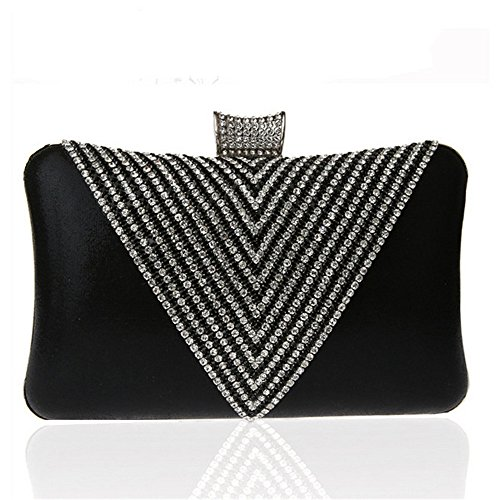 Rhinestone Women's Clutch Black Bag Black Lovely Purse Satin Handbags Color Prom Bridal Clutches Wedding Rabbit Evening 5BxnBw1