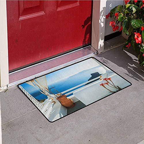 Santorini Stripe - GloriaJohnson European Commercial Grade Entrance mat Holiday Terrace with Sea at Sunset Architecture on Santorini Island Greece for entrances garages patios W15.7 x L23.6 Inch Turquoise and Blue