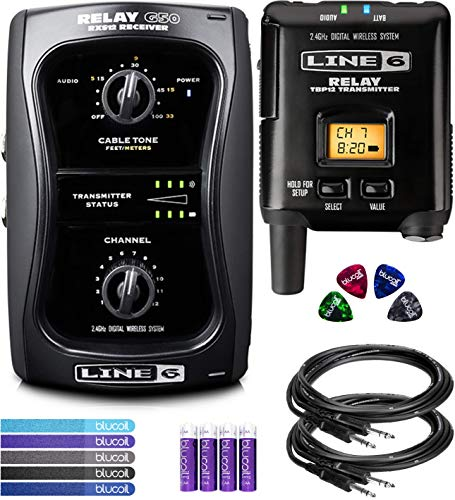 (Line 6 Relay G50 Digital Guitar Wireless System Bundle with 2-Pack of Hosa 10-FT Straight Instrument Cable (1/4in), Blucoil 5-Pack of Reusable Cable Ties, 4 AA Batteries, and 4x Guitar Picks)