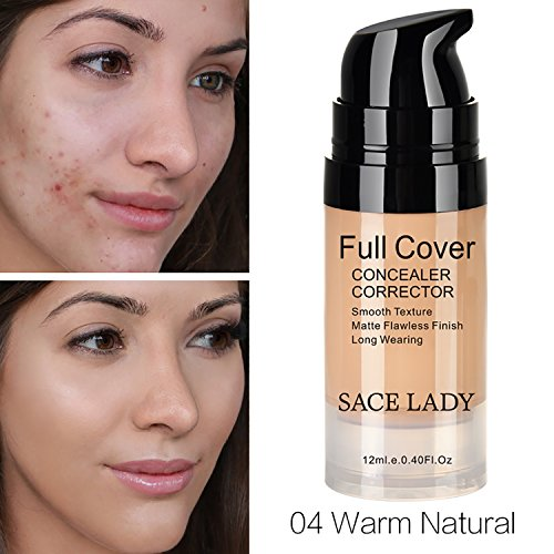 Pro Full Cover Liquid Concealer, Waterproof Smooth Matte Flawless Finish Creamy Concealer Foundation for Eye Dark Circles Spot Face Concealer Makeup, Size:6ml/0.20Fl Oz (04.Warm Natural 12ml)