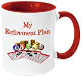 Rikki Knight ''My Retirement Plan is Bingo-Funny Quotes Red Handle and Inside Design'' Ceramic Coffee Mug Cup, 11 oz, Red