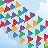 200 Pcs Multicolor Pennant Banner,PortableFun 250 Ft Nylon Fabric Decorations Flags For Festival Grand Opening Parties and backyard Picnics offers