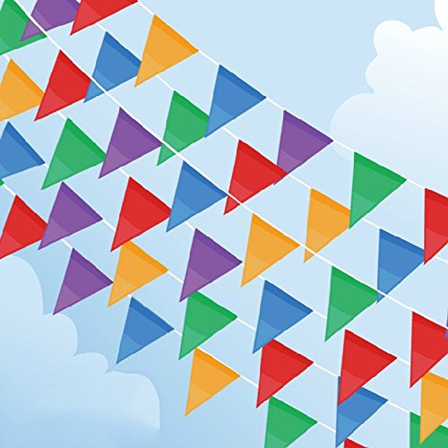 200 Pcs Multicolor Pennant Banner,PortableFun 250 Ft Nylon Fabric Decorations Flags For Festival Grand Opening Parties and backyard - Party Flag Pennant