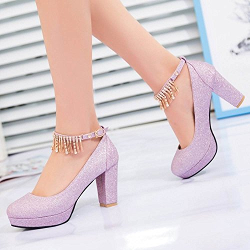 TAOFFEN Women Stylish Block Heel Court Shoes Purple kpjEWG1r