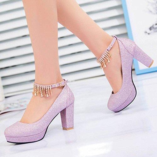 Sandales de Chaussures Purple Chunky Femmes Bout Sangle Rond Briller Cheville TAOFFEN fqZSW4OHW