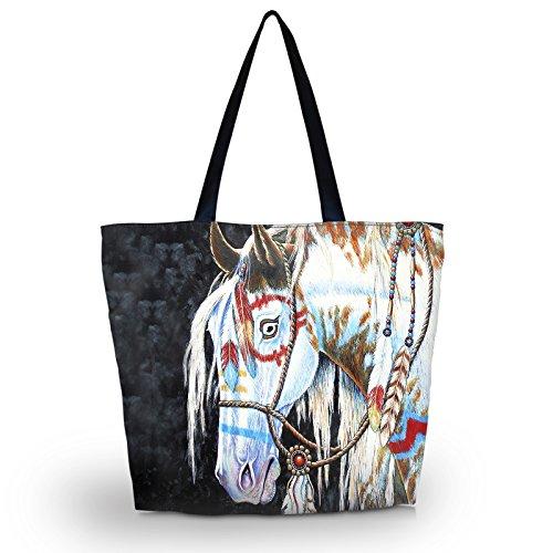 (Newplenty Lady Women's Large Capacity Zipper Polyster Handbag Shopping Bag Tote Shoulder Beach Bags Satchel (Horse Head))