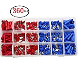 360pcs Wire Terminals Crimp Connectors, Mixed Assorted Insulated Spade Crimp Terminal Electrical Wire Connector Set Spade Ring Copper Terminal Kit 2 Color Red Blue Box-Packed