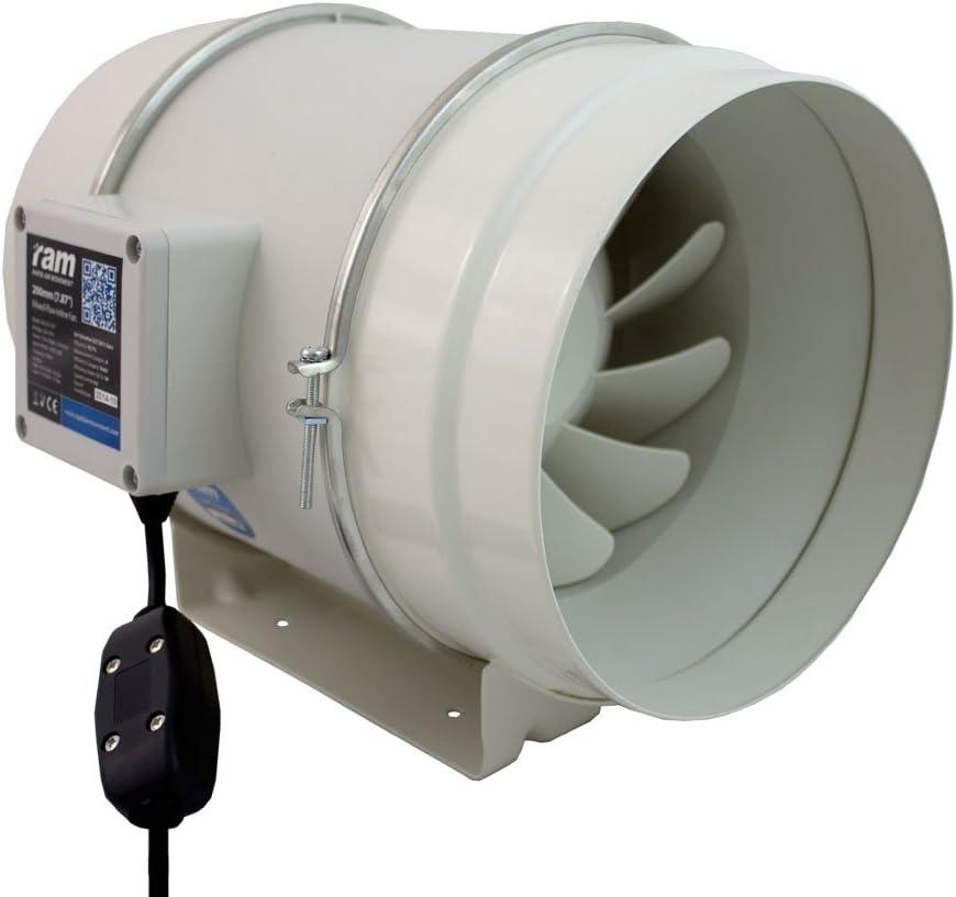 RAM 08-355-372 Extractor en Línea Mezclado-Flow Ventilador-200mm-840m³/HR con 2m EU IEC Cable de alimentación, Gris, 25.40x31.80x25.40 cm