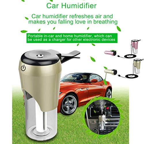 Dual 2 Port USB Car Essential Oil Diffuser Mini Portable Aromatherapy Aroma Fragrance Humidifier Air Freshener Purifier for Vehicle Office Travel Home (Gold) by TLT Retail