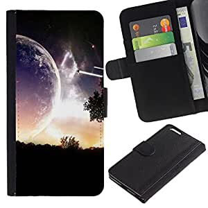 KingStore / Leather Etui en cuir / Apple Iphone 6 PLUS 5.5 / Planeta extranjero Parallel Universe Cerrar Ver Art
