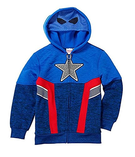 Marvel Avengers Captain America Little Boys Fleece Zip Up Hoodie (Blue, 3T) America Polyester Fleece