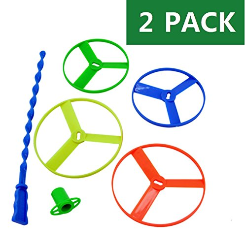 LEZHI 2 Pack Assorted Color Twisty Flying Saucers Helicopter Toys, Classic game, nostalgic game (2 Launcher+4 Large Discs+4 Small Discs) Disc Launcher