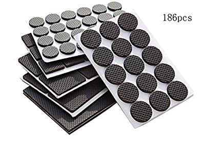 Pacii Lightweight Reduced Non Slip Furniture Rubber Pads,Heavy Duty Adhesive Furniture leg Pads-Soft Floor Protector without scratches for Tiled,Laminate,Wood Flooring,Furniture Leg Protectors-186 Pcs