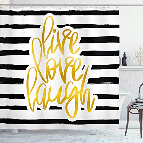Ambesonne Live Laugh Love Shower Curtain, Romantic Design with Hand Drawn Stripes and Calligraphic Text, Cloth Fabric Bathroom Decor Set with Hooks, 70 Long, White Yellow