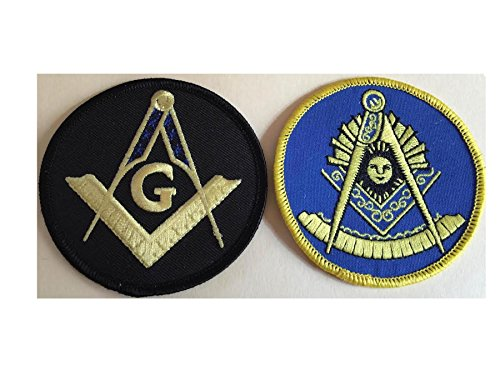 Master Mason Black & Past Master Blue and yellow Bundle Lot of 2 Masonic Embroidered Iron On Applique Patches