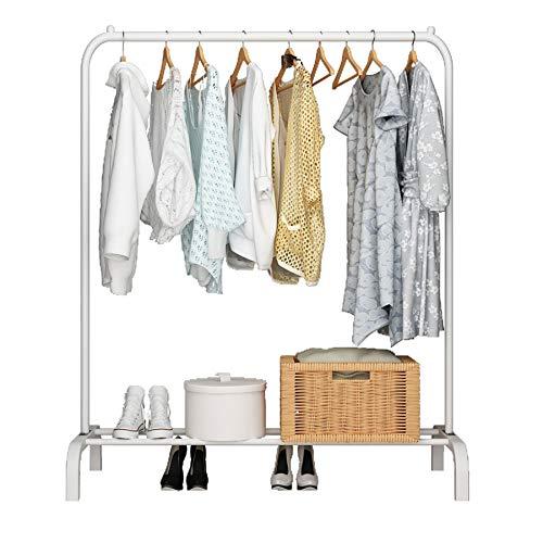 UDEAR Garment Rack Freestanding Hanger Multi-Functional Single Pole Bedroom Clothing Rack Bedroom,White