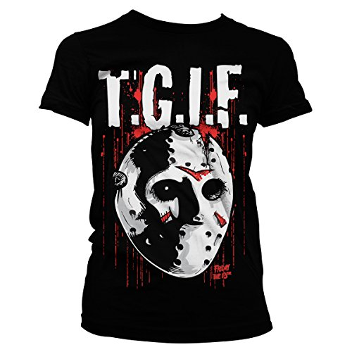 [Officially Licensed Merchandise Friday The 13th - T.G.I.F. Girly Tee (Black), XX-Large] (Jason Vorhees Masks)