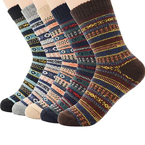 Zando Women Winter Thick Crew Sock Knit Warm Cashmere Boot Sock Cozy Casual Wool Cabin Sock Comfort Athletic Socks