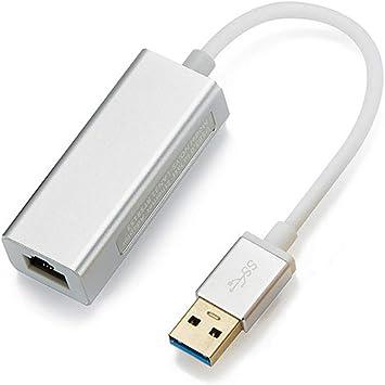 Adaptador de Red USB LAN USB 3.0 a Ethernet RJ45 LAN Gigabit Adaptador para Ethernet 10/100/1000 Mbps Compatible con Nintendo Switch Silver (20 cm): Amazon.es: Electrónica