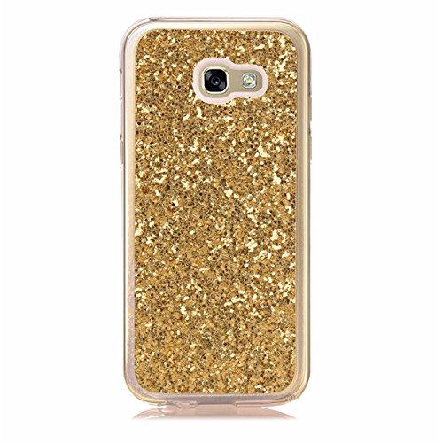 Funda Cover Samsung Galaxy A5(2017),Ukayfe Bling Funda Case para Samsung Galaxy A5(2017),Samsung Galaxy A5(2017) 3D Crystal Centelleo Cover Funda caja del gel TPU Silicona con Bling del brillo del Pla Bling Gold