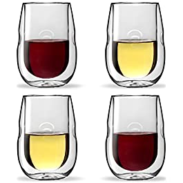 Moderna Artisan Series Double Wall Insulated Wine Glasses – Set of 4 Wine and Beverage Glasses