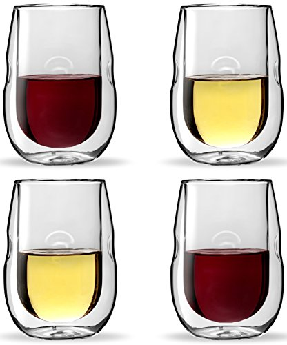 - Moderna Artisan Series Double Wall Insulated Wine Glasses - Set of 4 Wine and Beverage Glasses