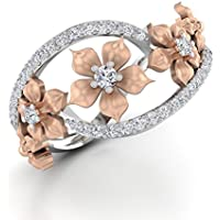 Siam panva Fabulous Women 925 Silver Floral Ring Two Tone Rose Gold Flower Jewelry Sz 6-10 (8)