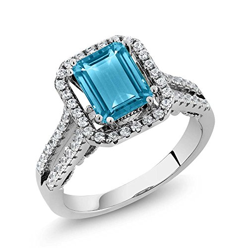 Gem Stone King Sterling Silver Swiss Blue Topaz Women s Ring 2.78 Center Stone 9X7MM Emerald Cut Available 5,6,7,8,9