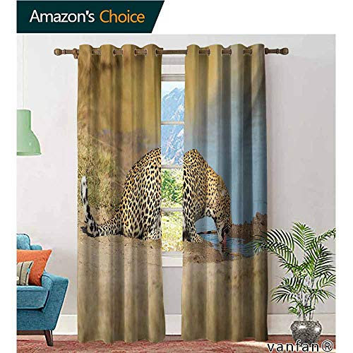 Big datastore Luxury Drapes and Curtains,SafariLeopard Panther Drinking at Waterhole Wild South African Animal Documentary Print,Specially Custom for You,Pale Brown,W108 xL108 -