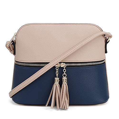 SG SUGU Lightweight Medium Dome Crossbody Bag with Tassel | Zipper Pocket | Adjustable Strap (Beige/Navy) (Crossbody Big Bag)