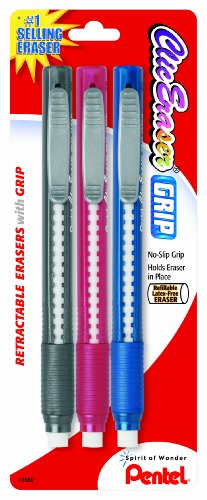Pentel Clic Retractable Eraser with Grip, Assorted Barrels, 3 Pack (ZE21BP3M) (Retractable Pen Clic Pentel Eraser)