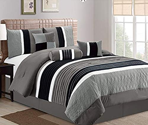 JBFF 7 Piece, Collection Bed in Bag Luxury Stripe Microfiber Comforter Set, Cal King, Grey