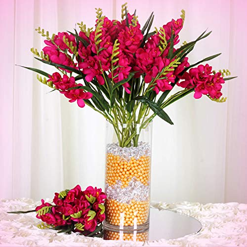 Inna-Wholesale Art Crafts New 4 Fuchsia Bushes Silk Freesia Decorating Flowers Bouquets Reception Decorations - Perfect for Any Wedding, Special Occasion or Home Office D?cor (Bouquet Freesia Wedding)