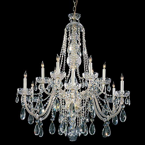 Crystorama Traditional Crystal Collection 12-Light Polished Brass/Swarovski Strass Crystal Chandelier - - Strass Swarovski Crystal Brass