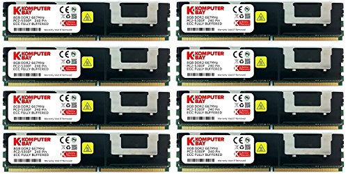 Komputerbay 64GB (8x 8GB) DDR2 PC2-5300F 667MHz CL5 ECC Fully Buffered FB-DIMM (240 PIN) w/ Heatspreaders