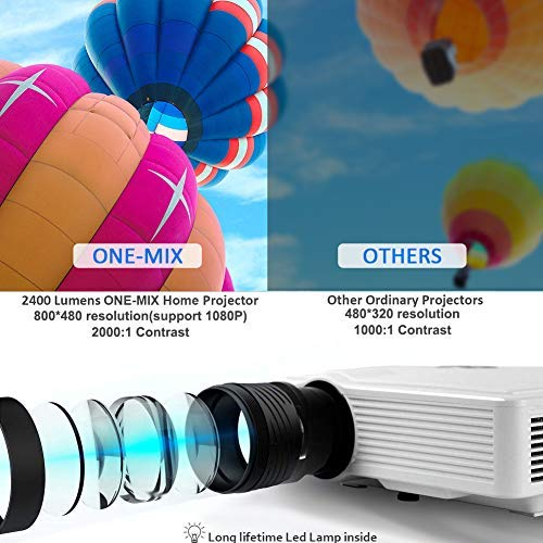 ONE-MIX 2400 Lumens Mini Video Projector, 130'' Display Multimedia Home Theater Projector 1080p HD Support, Led Portable Projector for Movie, Game, Outdoor, Laptop, Fire Stick, Xbox, USB, AV,VGA, HDMI