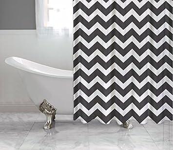 Amazon.com: Black and White Chevron Shower Curtain, Polyester ...