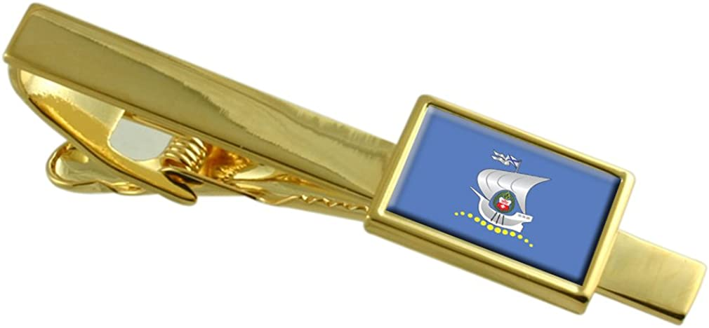 Kaliningrad City Russia Flag Gold-tone Tie Clip Engraved Personalised
