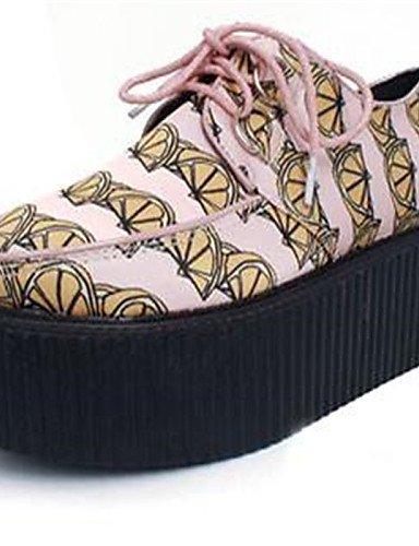 Eu39 Redonda De Seda us8 Zq Uk6 Cn39 Rosa Punta Zapatos Mujer Plataforma Casual Peach Oxfords Creepers OHgpqR