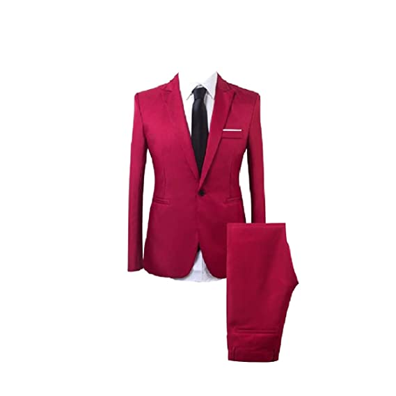 Abetteric Mens Slim Fitting One Button Two Piece Suits Jacket and Trousers