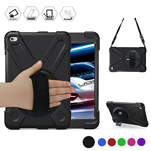 iPad Mini4 Shockpoof Case,BRAECN Three Layer Drop Protection Rugged Protective Heavy Duty iPad Case With a 360 Degree Swivel Stand/a Hand Strap and a Shoulder Strap For iPad Mini 4 Case (black) (Mini Stand Swivel Ipad)