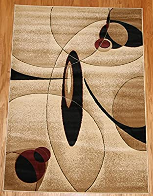 New City Brand New Contemporary Brown and Beige Modern Wavy Circles Wool Area Rug