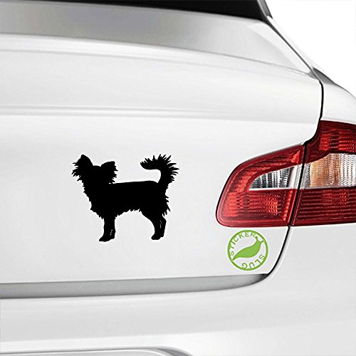 Long-haired Chihuahua Dog Decal Sticker (black, 5 inch)